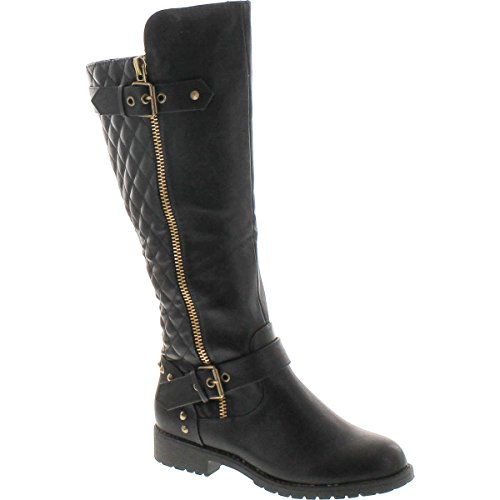 - Nature Breeze - Ladies Vivienne-01 Studded Quilted Leatherette Buckle Round Toe Motorcycle Boot, Black 38850-8B(M) US