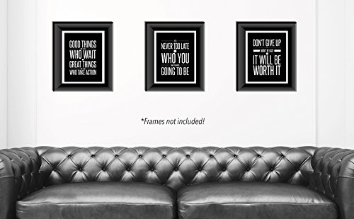Don't Give Up 3 Mini Poster Set (8 x 10 inch) Motivational Inspirational Quote Wall Art Posters – Black & White Typographic UNFRAMED Wall Home Decor, Office, Classroom, Dorm Room, Gym, Entrepreneur