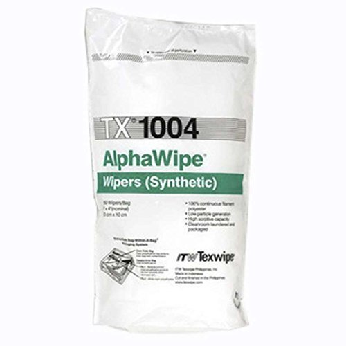 AlphaWipe Cleanroom Highly Adsorbent Polyester Wipes with Laundered Cut Edges, 4 x 4