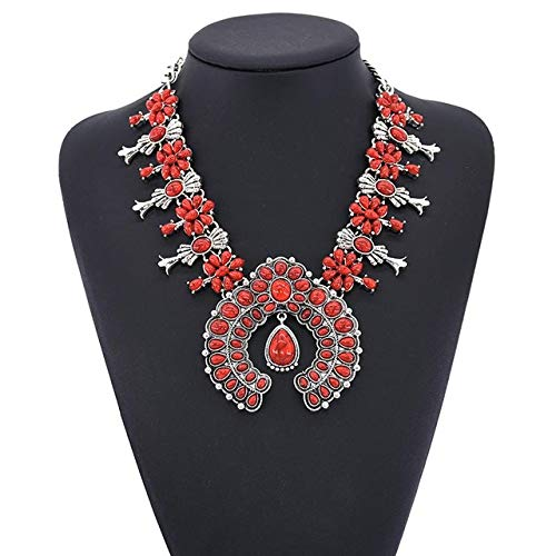Gimax 1pcs Fashion Silver Blossom Necklace Vintage Navajo Indian Bead Zuni Inlay Coral Flower Pendant Alloy Necklace GYR9010 - (Metal Color: Red)