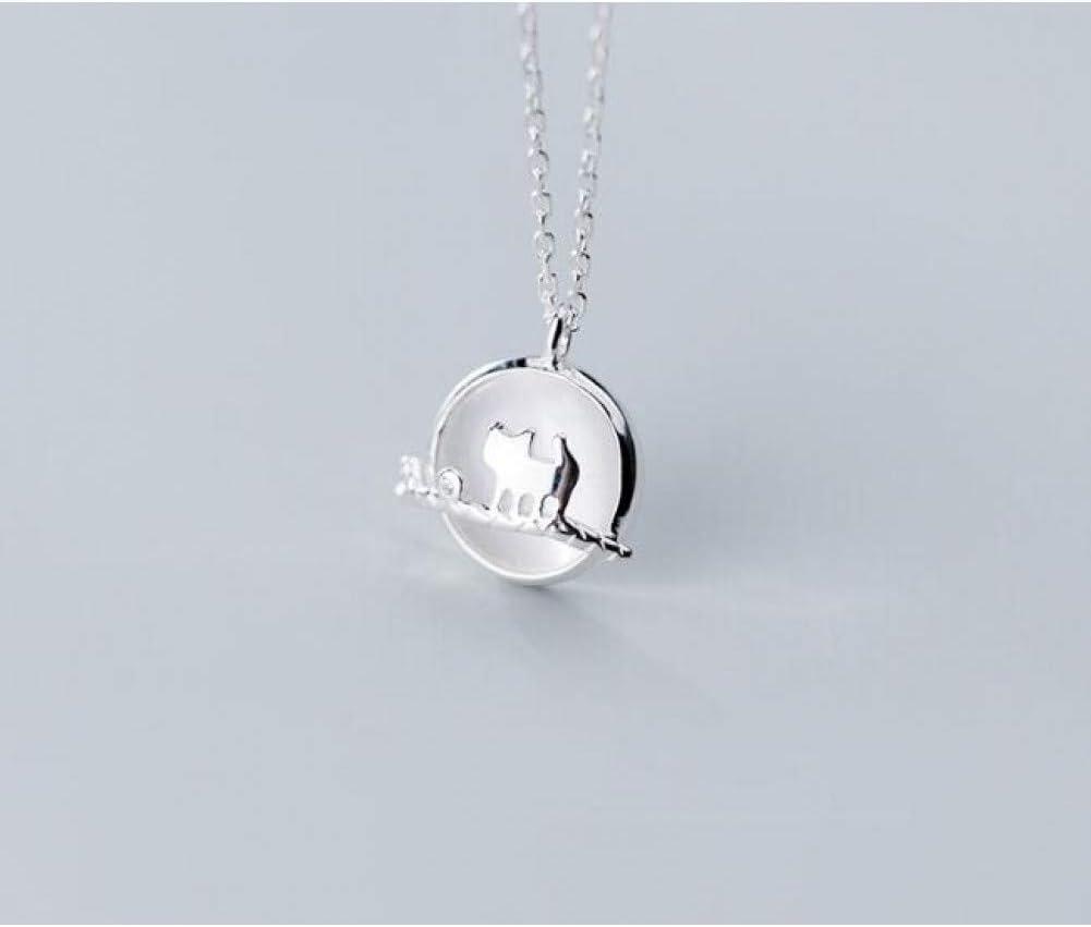 FyaWTM Collar Colgante Plata de Ley 925joyeríaCollar Colgante del Gato del Gatito Poder Opal