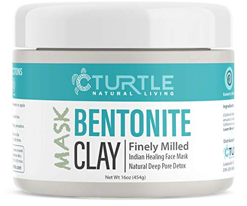 Bentonite Clay 16 oz. Healing Face Mask - Best Indian Cleansing Facial Mask for Pore Detox and Acne Treatment. Used by Ancient Aztec Indians - Organic Natural Sodium, Calcium Facial Powder