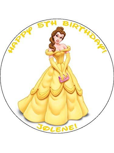 Remarkable Disney Princess Belle 7 5 Round Personalised Birthday Cake Topper Funny Birthday Cards Online Kookostrdamsfinfo