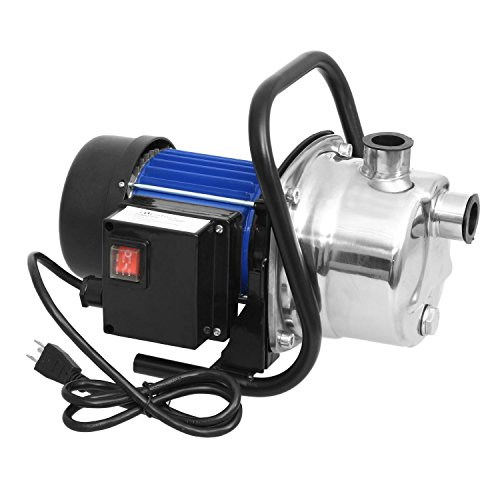 Lantusi 1.6 HP Portable High Capacity Sprinkling Pump Automatic ON/OFF Water Removal Pool Cover Pump Stainless Steel Home Garden Irrigation Water Supply Pump Blue and Silver (US STOCK)