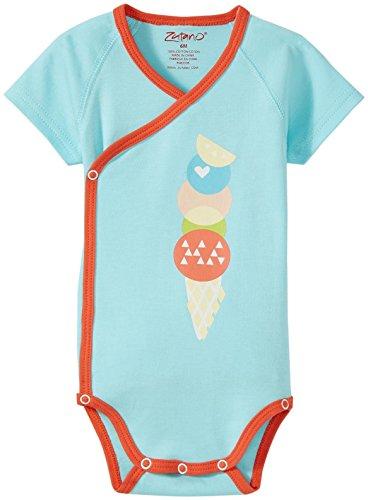 (Zutano Baby Boys' Sugar Cone Screen S/s Wrap Body, Aqua, 6 Months)