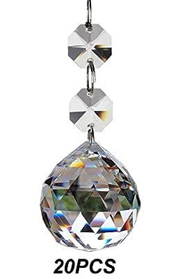 Fushing 20pcs Crystal Glass Ball Chandelier Prisms Pendants Parts Beads