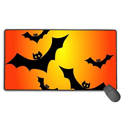 (Extended Gaming Mouse Pad Halloween Bats Vector Clipart Illustration Rectangle Rubber Mousepad 29.53 X 15.75 Inch Anti-Slip XXL Computer)