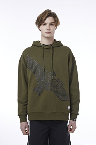 BOY London Unisex (S,M,L,XL) 18SS Asymmetric Eagle Print Hoodie - Black,Khaki New_(BH1HD120) (Khaki, XLarge) by BOY London