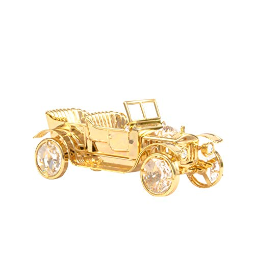 24K Gold Plated Scaled Vintage Car Free Standing with Rollable Wheels Embedded with Swarovski Crystal | Best Gift for Father's Day Birthday House Warming Table Accessories and Car Lovers