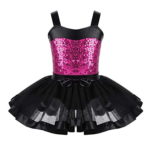 inlzdz Kids Girls Sequins Mermaid Tutu Dress Ballet Gymnastics Leotard Festival Costume Black&Rose Red 3-4