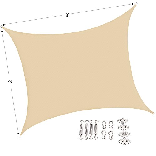 Outhere 6'X8' Small Sun Shade Shade Sail Rectangle with Stainless Steel Hardware Kit - Durable Outdoor Canopy UV Shelter for Patio Lawn - Sand Color