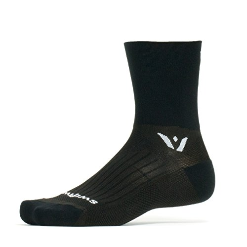 Swiftwick PERFORMANCE FOUR, Quarter-Crew Socks for Cycling and Trail Running, Black, Large
