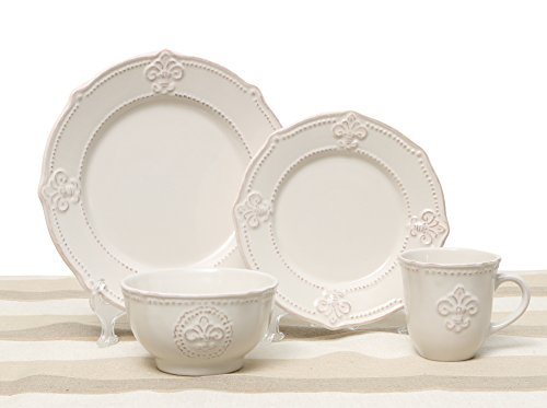 - Whitish Grey/Cream Fleur de Lis 4 Piece Place Setting with Salad Plate, Dinner Plate, Mug, and Soup Bowl