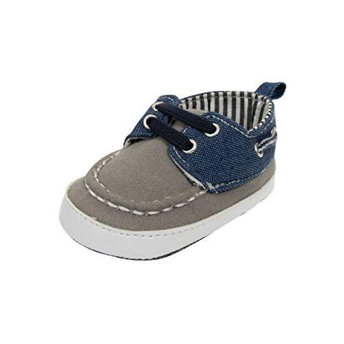 (BARE HUGS Boys Infant Boat Shoe W/Stripe Grey 0-3 Months)