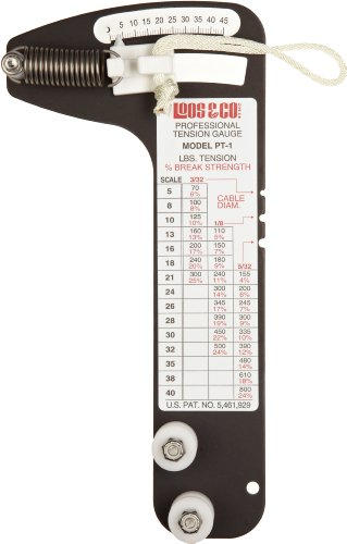 Sailboat Rigging Tension Gauge from Loos & Co., PT-1 Professional Hands-Free Force Gauge for Tensioning and Tuning of Shrouds, Cable Rigs, Wire Rope Standing Rigging, and Forestays, for 3/32, 1/8, ()