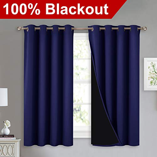 - NICETOWN 100% Blackout Curtains with Black Liners, Thermal Insulated 2-Layer Lined Drapes, Energy Efficiency Small Window Draperies for Dining Room (Dark Blue, 2 Panels, 52
