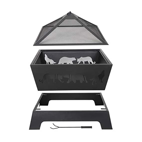 LEMY 26 Inch Outdoor Metal Stove Fire Pit - Backyard Patio Capming Wood Burning Fireplace, Geometric Shaped Steel Fire Pit w/Extra Deep Pit&Cover - 【Heavy Metal Construction】This durable fire pit is manufactured from a sturdy steel iron mesh and frame construction,finished with Heat and rust-resistant coating Surface protection against high temperature.Enjoying it this winter season. 【Deeper Fire Pit】Unlike other ordinary firepit,this new updated fireplace has a great depth,it have plenty of room for firewood and charcoal.There are raised iron brackets on the bottom for the wood for better ventilation,the construction allowed it to light quickly and throw off very good heat. 【Safe Fire Pit】 This wood burning fire pit features with mesh lid to help prevent embers blowing away and comes with a poker to move hot woods and remove the mesh lid safely,so you don't burn your hand putting the cover on.Also have a rain cover to avoid getting rusty by water or rain when not in use. - patio, outdoor-decor, fire-pits-outdoor-fireplaces - 41pXV%2BzrQqL. SS570  -