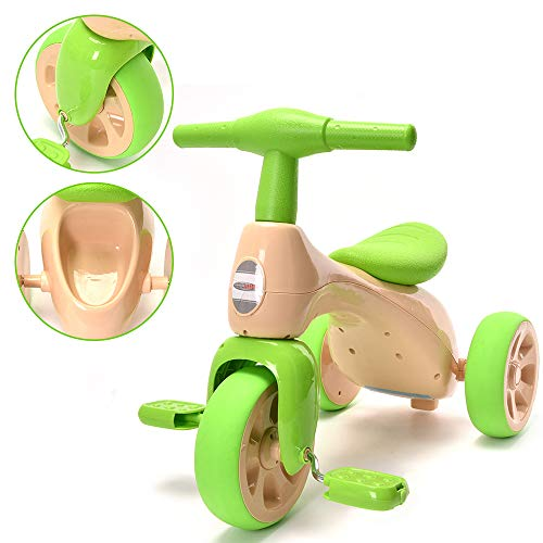 (ChromeWheels Baby Balance Bike, Toddlers' Tricycle Walker with BB Sound for 18-36 Months, Green)