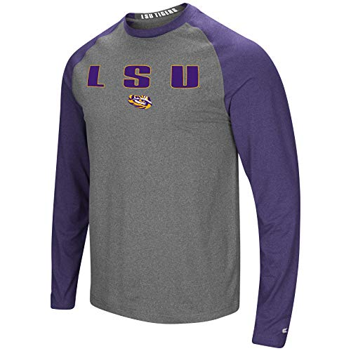Colosseum Men's NCAA-Buzzer Beater- Long Sleeve Raglan T-Shirt-LSU Tigers-Heathered Purple/Heathered Charcoal-Large
