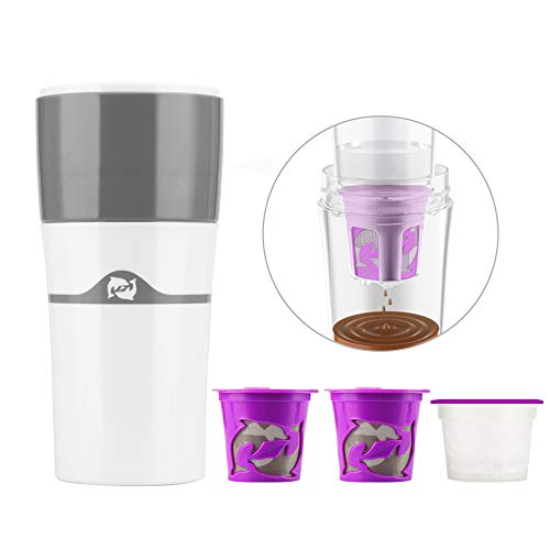 i Cafilas The Original Portable Drip Coffee Maker Travel Mug,Compatible with Refillable K Pods& Single-Serve Capsules,Portable Manual For Office Camping Hot and Cold Coffee Brewer (White)