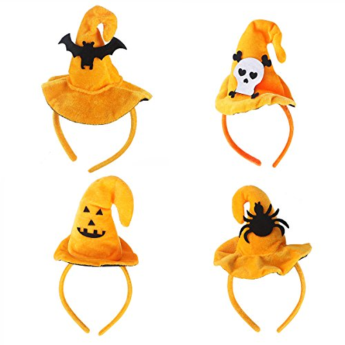 (4pcs Kids Adults Halloween Toys Witch Hat Skull Headband Novelty Hair Band Hair Hoop Headpiece Accessories for Halloween Costume Party Masquerade Cosplay Props (Skull + Smile Face + Spider +)