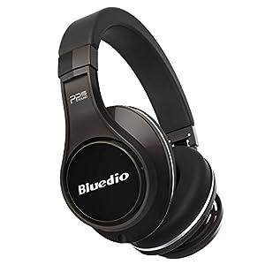 Bluedio U (UFO) la série de Convictions haut de gamme Casque audio Bluetooth Révolution Breveté 8 tracks/ 3D effet sonore/ Alliage à base d'aluminium/ Casque audio HI-FI sans fil & filaire Circum-Auriculaire/Écouteur avec Étui portable Emballage détaillant de cadeau (Titane)