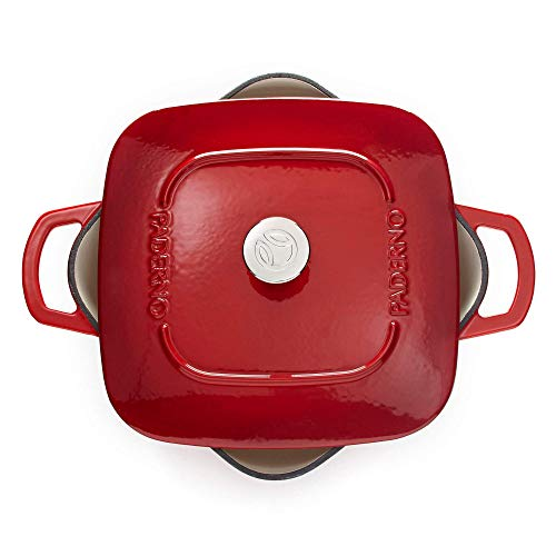 Paderno Dutch Oven | Cast Iron Cookware with Stainless-Steel Knob | 6.5 Quarts, Red
