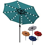 Blissun 9 ft Solar Umbrella 32 LED Lighted Patio Umbrella Table Market Umbrella with Tilt and Crank Outdoor Umbrella for…