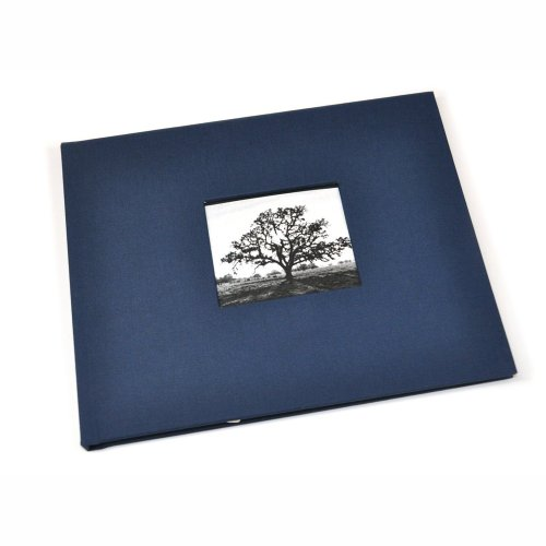 Guest Book with Photo Frame Cover & Lined Pages - Navy Blue Linen