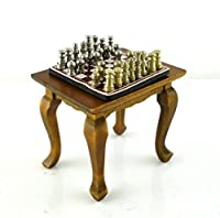 Dollhouse Miniature Chess Table and Set