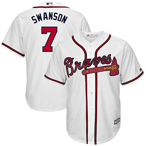 VF LSG 2019 Atlanta Braves Dansby Swanson #7 Officially Licensed Cool Base Player Jersey T-Shirt for Men Women Youth
