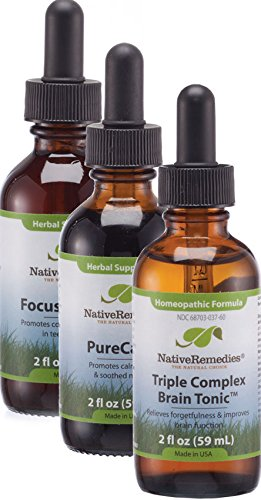 (Native Remedies Focus & Mood UltraPack for Adults - Natural Homeopathic Formula Triple Complex Brain Tonic and All Natural Herbal Supplements Focus ADDult and PureCalm - 1 Each)