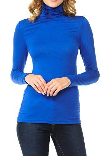 SSOULM Women's Long Sleeve Lightweight Turtleneck Top Pullover Sweater RoyalBlue M ()