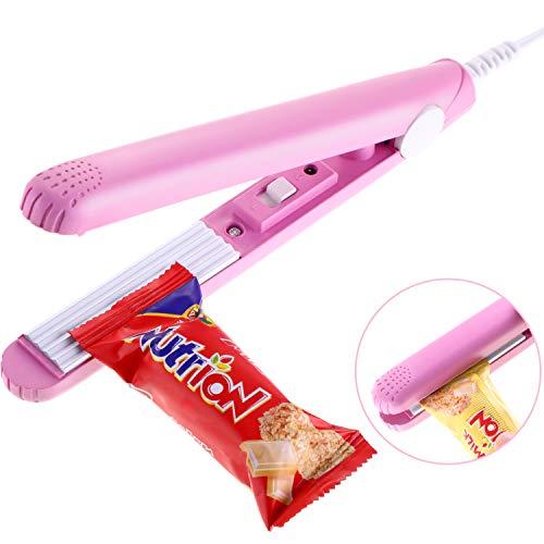Leinuosen Food Bag Heat Sealer Handheld Bag Sealer with Storage Box for Airtight Food Storage Supplies (Pink)