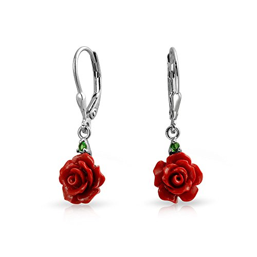 Dangling Red Flower - 3D Red Rose Flower CZ Bow Ribbon Leverback Drop Dangle Earrings For Women For Teen 925 Sterling Silver