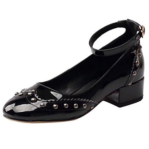 AIYOUMEI Cuir Vernis Chaussure Femme Bride Cheville Talons Bloc Bout Rond Escarpins Rivets Confortable en Mode Noir YoyMnyZW
