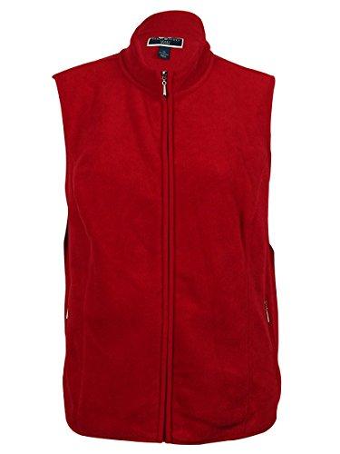 Karen Scott Women's Solid Fleece Vest (3X, New Red Amore)