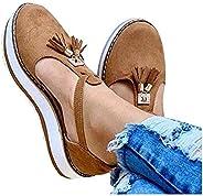 Women Tassel Sandals Buckle Strap Flock Summer Wedge Shoes Chaussures Flat Platform Sandalias Plus Size Shoes