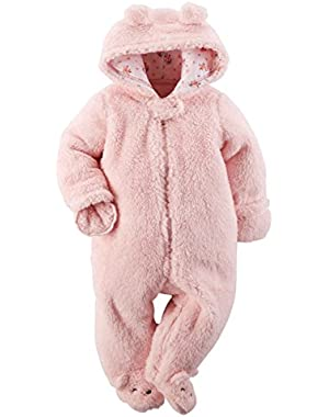Carters Infant Girls Plush Pink Faux Shearling Coverall Baby Bunting Pram