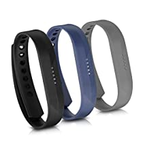 kwmobile 3in1 set: 3x sport spare bracelet for Fitbit Flex 2 in black dark blue anthracite Inner dimensions: approx. 15 - 20 cm - silicone bracelet with closure without tracker