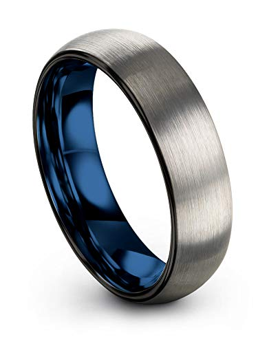Chroma Color Collection Tungsten Carbide Wedding Band Ring 6mm for Men Women Blue Interior with Black Grey Exterior Dome Brushed Polished Comfort Fit Anniversary Size 7.5