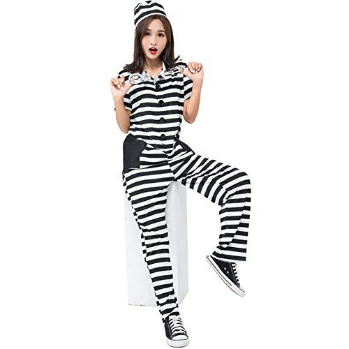 Da Mai Womens Prisoner Costumes Halloween Busted Stripy Costume Inmate Fun Costume