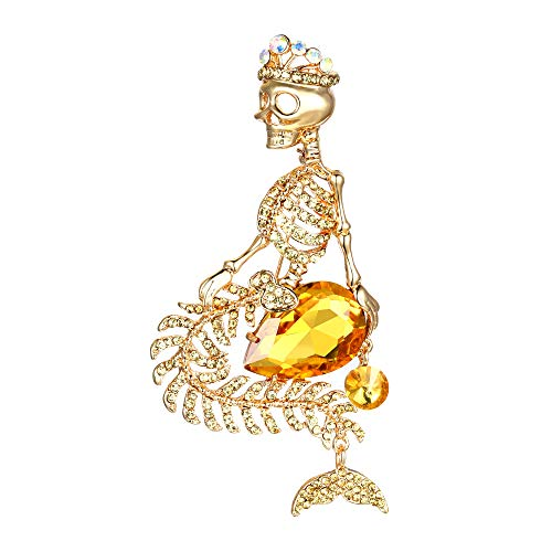 EVER FAITH Women's Austrian Crystal Halloween Mermaid Skull Crown Teardrop Brooch Topaz Color -