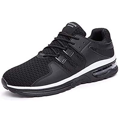 BAOLESEM Men's Lightweight Running Shoes Air Cushion Breathable Sneakers Knit Comfortable Walking Shoes Black Size: 7.5