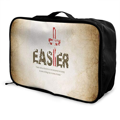 Lightweight Large Capacity Portable Luggage Bag Christian Easter Travel Waterproof Foldable Storage Carry Tote Bag ()