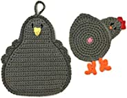 Chicken Butt Cup Coaster and Pot Holder Set in Dark Gray made with 100% cotton yarn by Yeeli's Little Co
