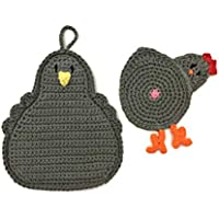 Chicken Butt Cup Coaster and Pot Holder Set in Dark Gray made with 100% cotton yarn by Yeeli's Little Corner