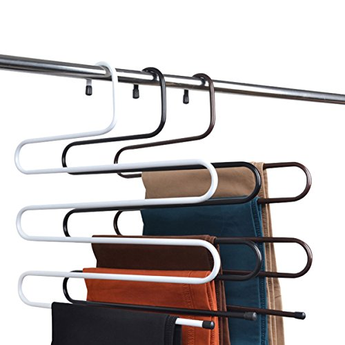 Multi Layers Metal Pant Slack Hangers - Closet Storage for Jeans Space Saver Storage Pant Rack