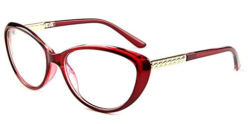 COMPUTER Optical Blue Light Blocking Anti-fatigue Cat Eye Frame Clear Glasses (Red, Clear)