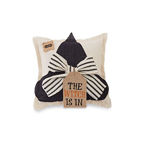 Mud Pie Halloween Home Decor Burlap Witch Hat Pillow (Witch)